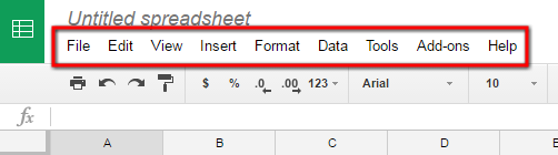 Google Sheet Menu