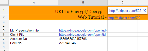 data decrypted google sheet