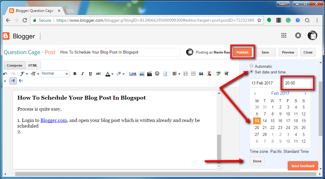 Schedule A Post In Blogger