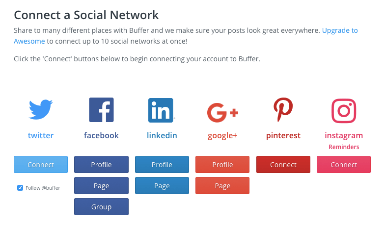 Adding social profiles Buffer