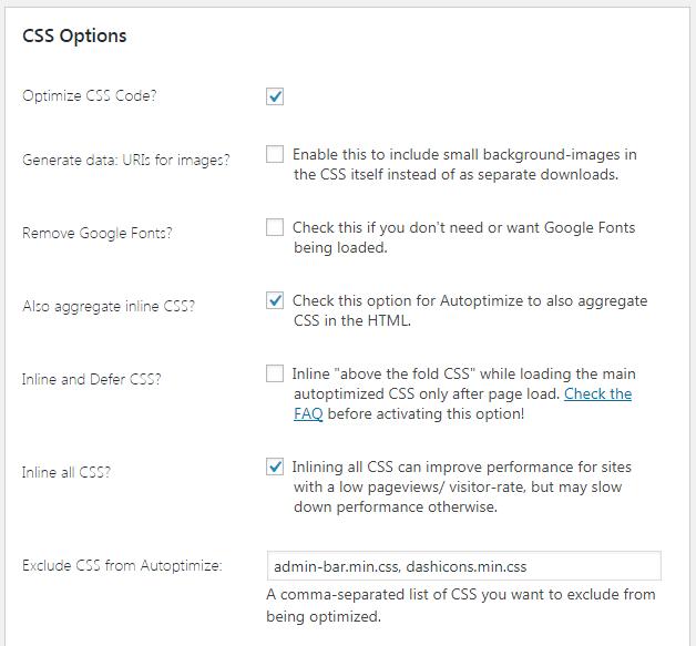 CSS Optimize options Autoptimize