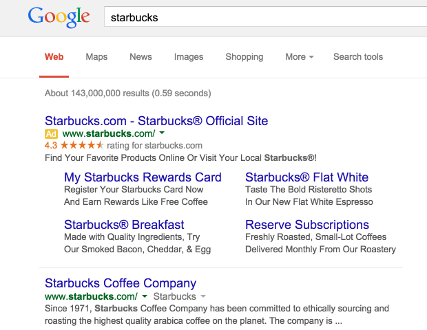 Starbucks google search