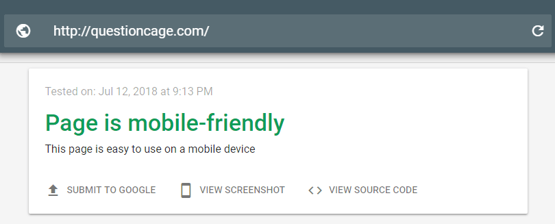 Google Mobile friendly Test-questioncage