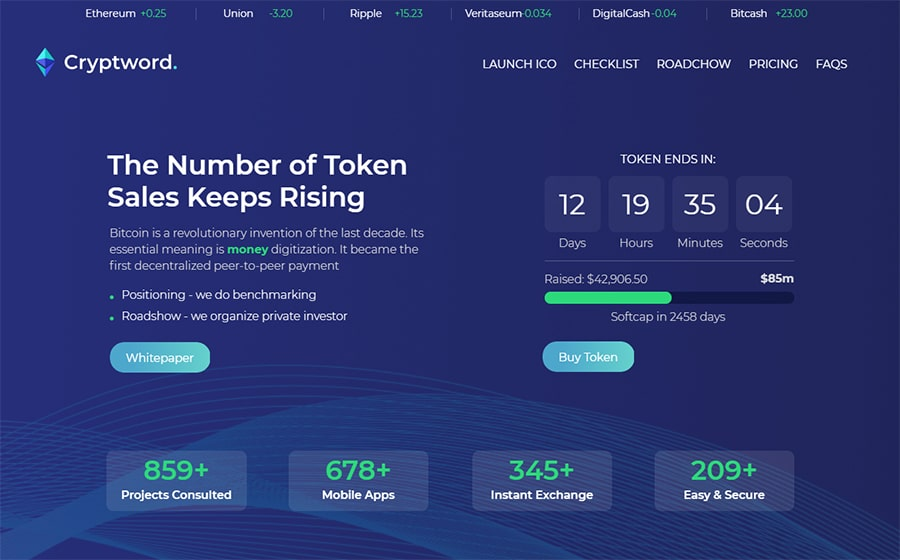 Cryptword – Cryptocurrency Elementor WordPress Theme
