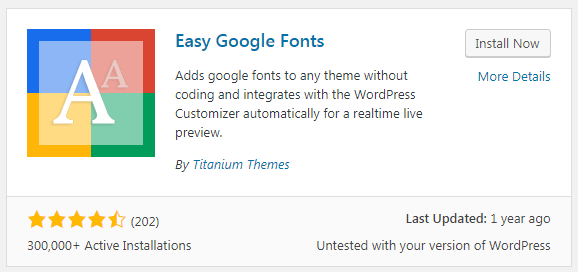 Easy Google Fonts plugin
