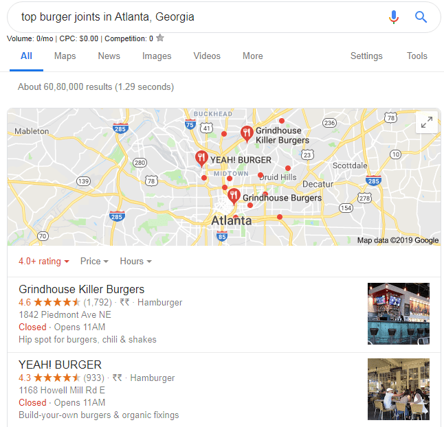 restaurants near me local seo