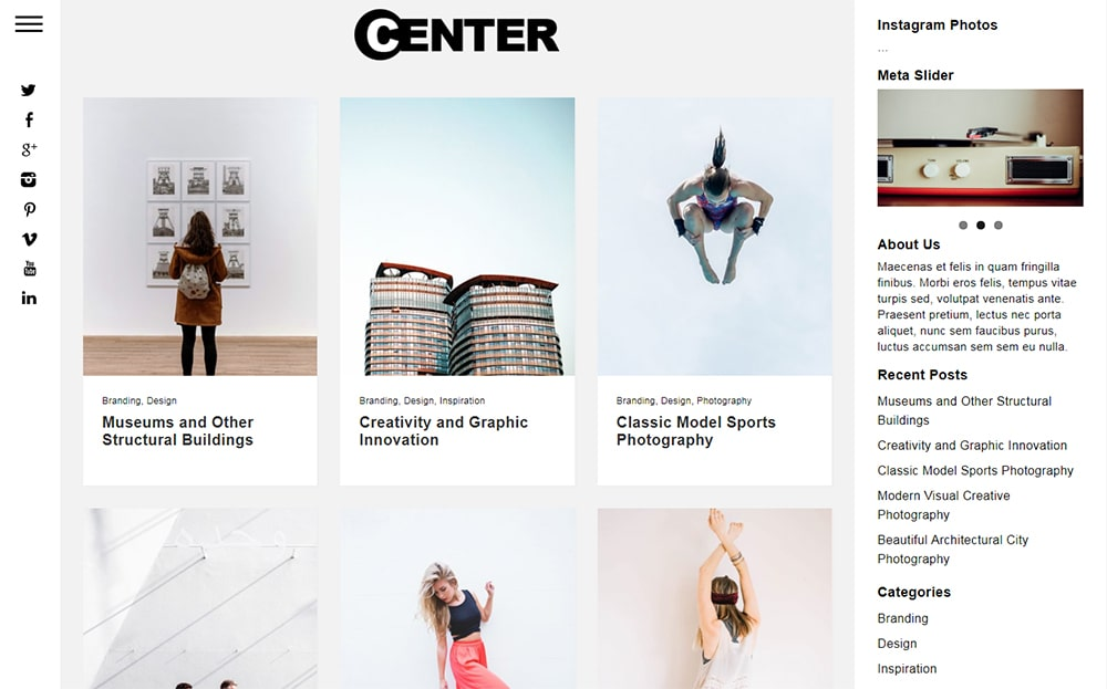 Center WordPress Theme