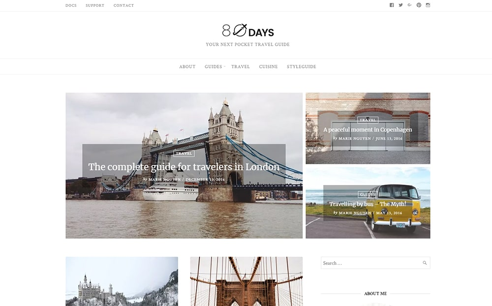 EightyDays Travel Blog WordPress Theme