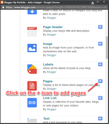 Add pages in Blogger