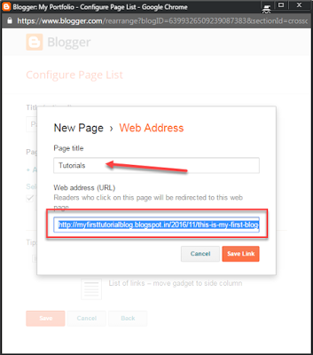Blogger new page WebAddress